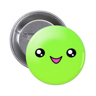 Kawaii Sugar Dots Lime Happy Face Button