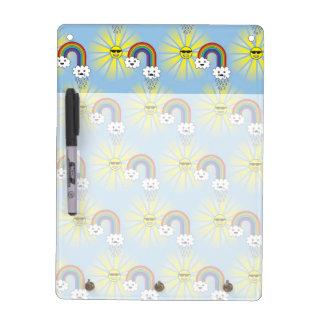 Kawaii Sun Cloud and Rainbow Pattern Dry Erase Board