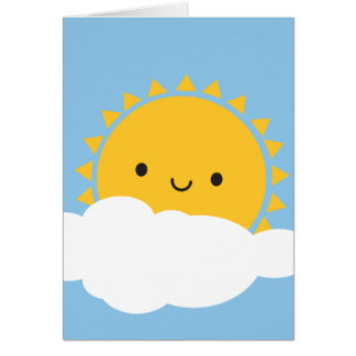 Kawaii Sun & Cloud Card