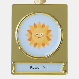 Kawaii Sun Gold Plated Banner Ornament