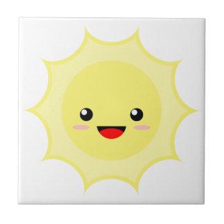 Kawaii Sun Small Square Tile