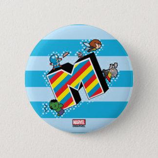 Kawaii Super Heroes on Striped M 6 Cm Round Badge