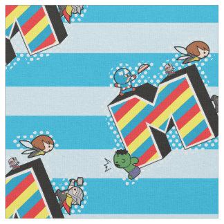 Kawaii Super Heroes on Striped M Fabric