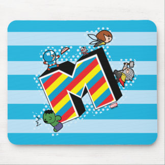 Kawaii Super Heroes on Striped M Mouse Mat