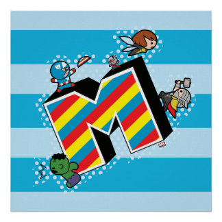 Kawaii Super Heroes on Striped M Poster