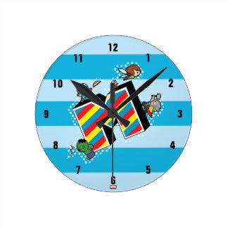 Kawaii Super Heroes on Striped M Round Clock