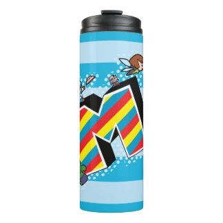 Kawaii Super Heroes on Striped M Thermal Tumbler