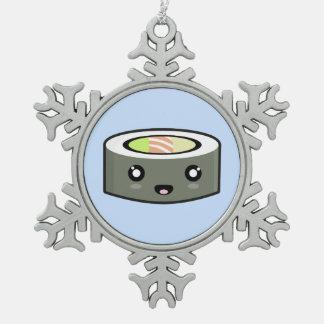 Kawaii Sushi Pewter Snowflake Decoration
