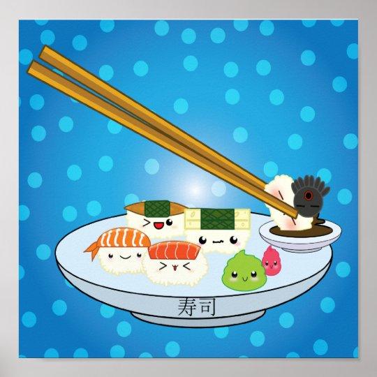 Kawaii Sushi Platter Poster