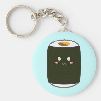 Kawaii Sushi Roll Basic Round Button Key Ring