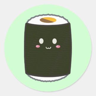 Kawaii Sushi Roll Classic Round Sticker
