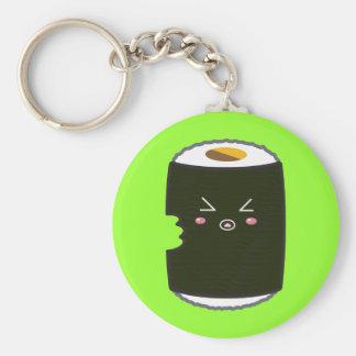 Kawaii Sushi Roll with Bitemark Basic Round Button Key Ring
