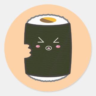 Kawaii Sushi Roll with Bitemark Round Sticker
