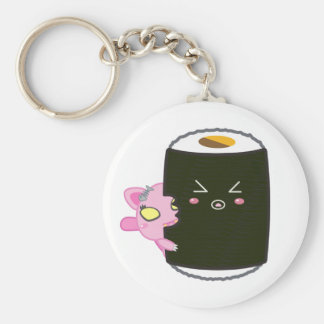 Kawaii Sushi Roll with Nadel the Cat Key Ring