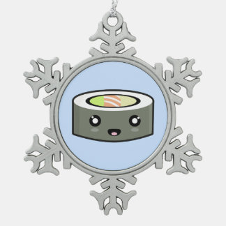 Kawaii Sushi Snowflake Pewter Christmas Ornament
