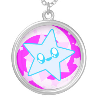 Kawaii Swirl Star Sterling Silver Necklace