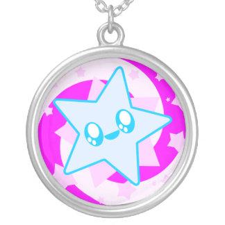 Kawaii Swirl Star Sterling Silver Necklace