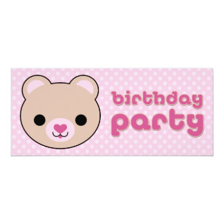 Kawaii Teddy Bear Cute Birthday Party Invitations