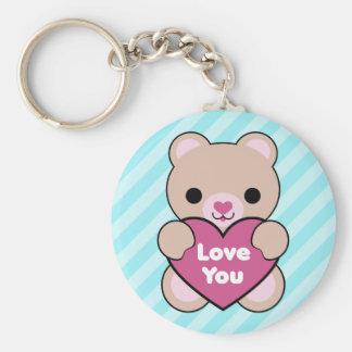 Kawaii Teddy Bear Basic Round Button Key Ring
