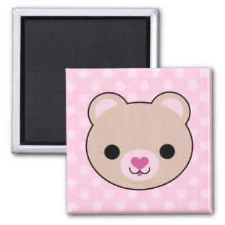 Kawaii Teddy Bear Pink Polka Dots Magnet