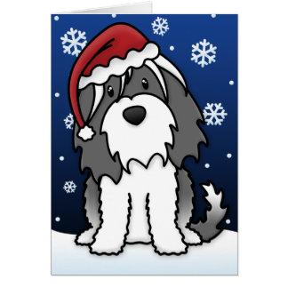 Kawaii Tibetan Terrier Christmas Card