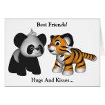 Kawaii Tiger Panda Best Friends Card