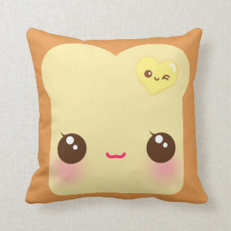Kawaii toast with cute heart butter throw cushion