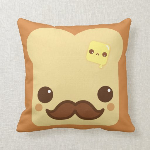 Kawaii toast with mustache and cute butter throw pillow