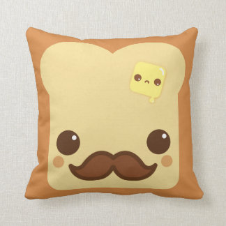 Kawaii toast with mustache and cute butter throw cushions