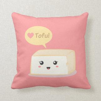 Kawaii tofu asking people to love tofu cushion