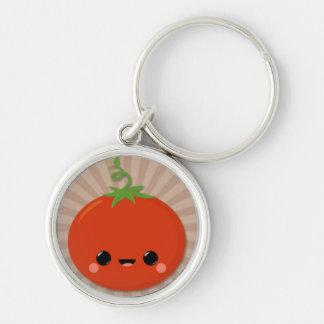 Kawaii Tomato on Brown Starburst Key Ring