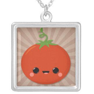 Kawaii Tomato on Brown Starburst Necklaces
