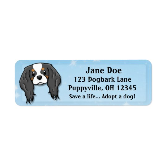 Kawaii Tricolor Cavalier King Charles Spaniel Return Address Label