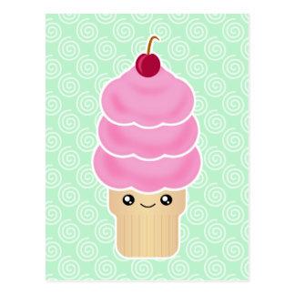 Kawaii triple scoop ice cream postcard