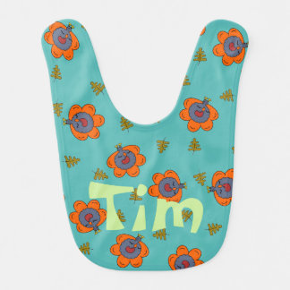Kawaii Turkeys Colorful Baby Bib