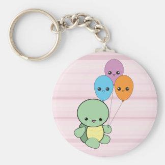 Kawaii Turtle with Balloons keychain