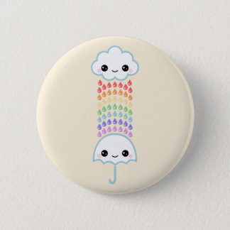 Kawaii Umbrella with Rain 6 Cm Round Badge
