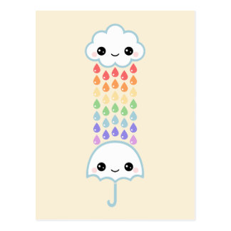 Kawaii Umbrella with Rain Postcard