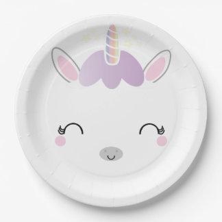 kawaii UNICORN BIRTHDAY party plate 1