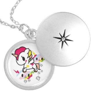 Kawaii Unicorn Necklace. Round Locket Necklace