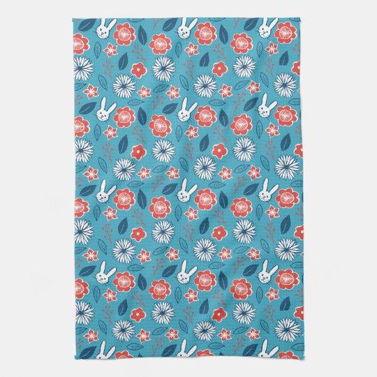 Kawaii Usagi Floral Pattern Tea Towel