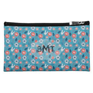 Kawaii Usagi Floral Pattern with Initials Cosmetics Bags