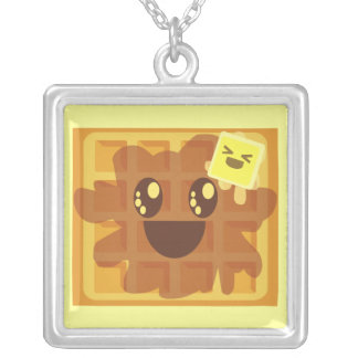 Kawaii Waffle & Butter Sterling Silver Necklace