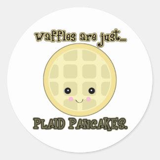 kawaii waffles are just plaid pancakes round sticker