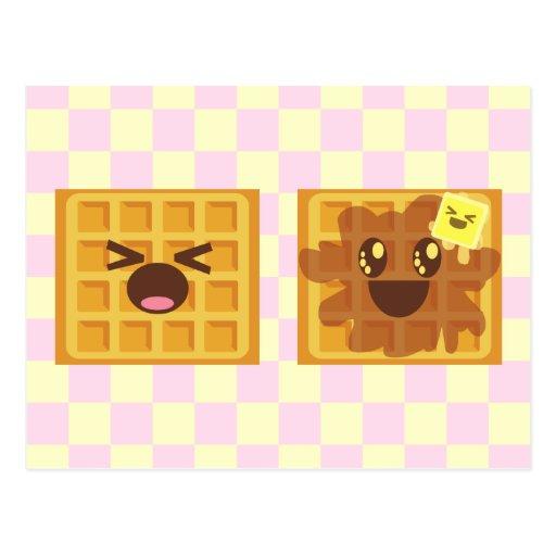 kawaii waffles good morning breakfast! post cards