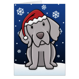 Kawaii Weimaraner Christmas Card