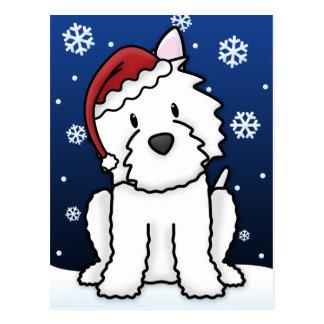 Kawaii Westie Christmas Postcard