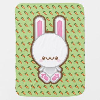 Kawaii White Bunny Rabbit And Carrots Baby Blanket