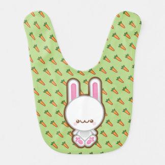 Kawaii White Bunny Rabbit With Carrots Baby Bib