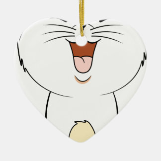 Kawaii white kitten ceramic heart decoration